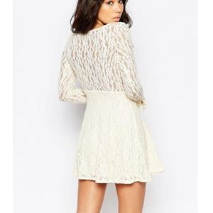 FREE PEOPLE SHEARLING IVORY LACE TEEN WITCH DRESS